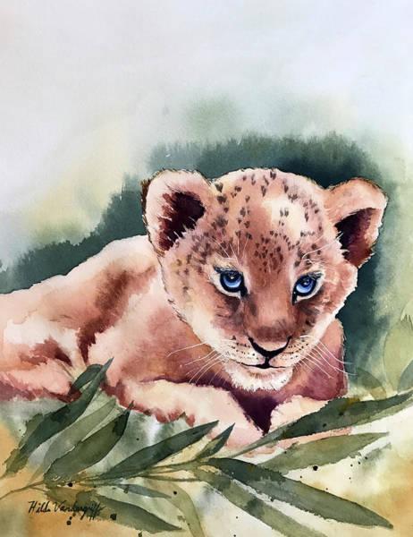Painting - Kijani The Lion Cub by Hilda Vandergriff