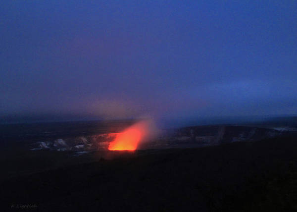 Big Island Digital Art - Kilauea - Halemaumau Crater Glow by Kerri Ligatich