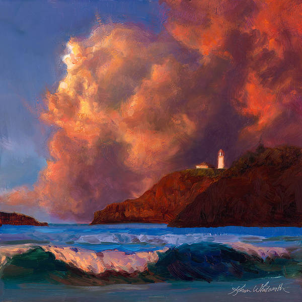 Painting - Kilauea Lighthouse - Hawaiian Cliffs Sunset Seascape And Clouds by Karen Whitworth