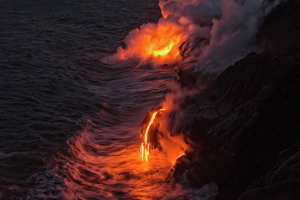Melt Wall Art - Photograph - Kilauea Volcano Lava Flow Sea Entry - The Big Island Hawaii by Brian Harig