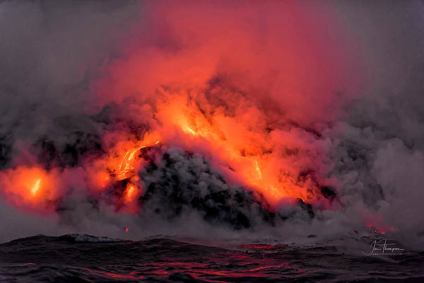 Photograph - Lava Flowing Into The Ocean 1 by Jim Thompson