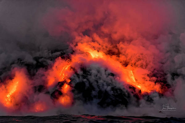 Photograph - Lava Flowing Into The Ocean 2 by Jim Thompson