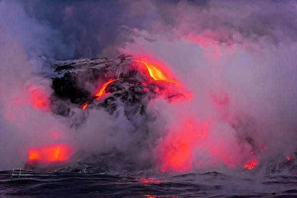 Photograph - Lava Flowing Into The Ocean 8 by Jim Thompson