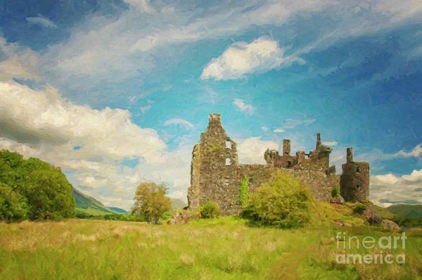 Wall Art - Digital Art - Kilchurn Castle Landscape Digital Painting by Antony McAulay