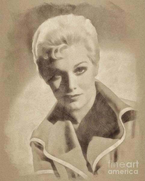 Pinewood Drawing - Kim Novak, Vintage Actress By John Springfield by John Springfield