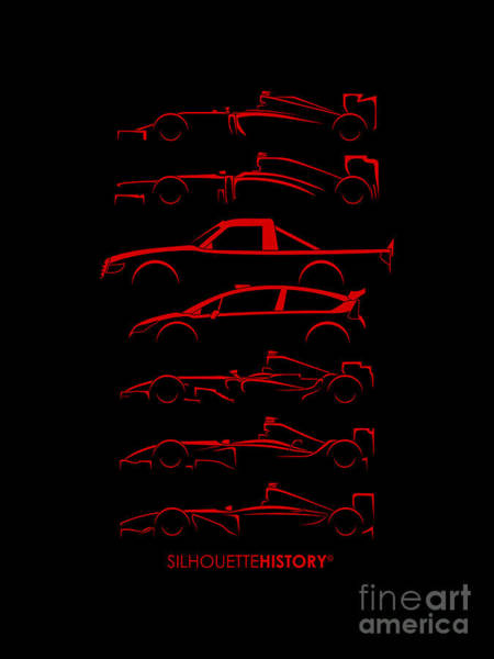 Formula 1 Digital Art - Kimi Resume Silhouettehistory by Gabor Vida