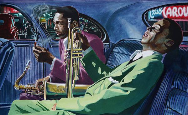 John Coltrane Wall Art - Painting - Kind Of Blue   - Miles Davis And John Coltrane by Jo King