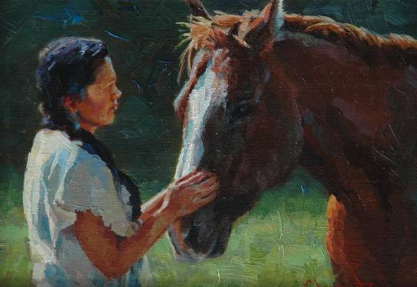 Lakota Painting - Kindred Spirits IIi by Jim Clements