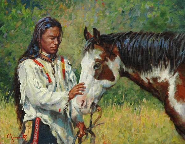 Lakota Painting - Kindred Spirits by Jim Clements