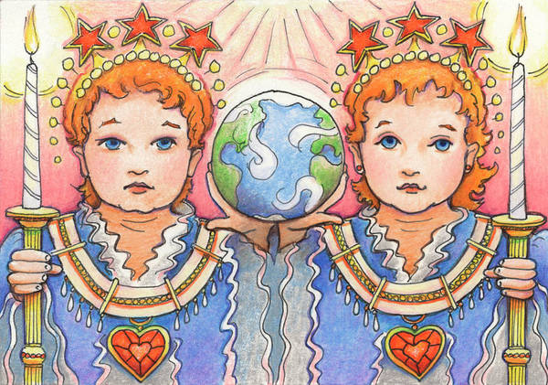Babe Drawing - King And Queen Of A Future World by Amy S Turner