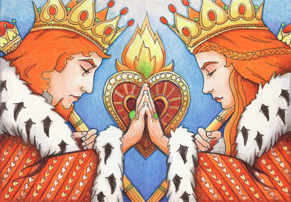 Colored Pencil Drawing - King And Queen Of Hearts by Amy S Turner