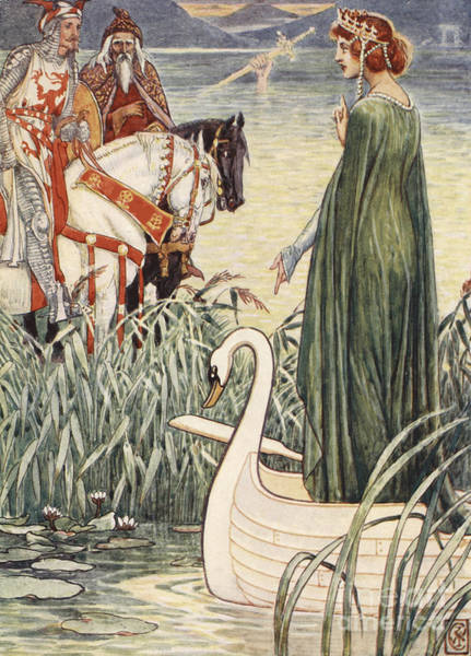 Wall Art - Painting - King Arthur Asks The Lady Of The Lake For The Sword Excalibur by Walter Crane