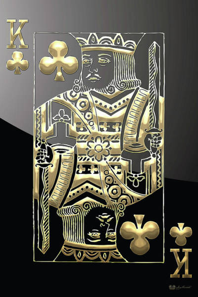 Digital Art - King Of Clubs In Gold On Black   by Serge Averbukh