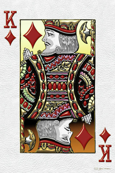 Digital Art - King Of Diamonds Over White Leather  by Serge Averbukh