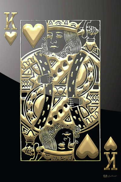 Playing Digital Art - King Of Hearts In Gold On Black by Serge Averbukh