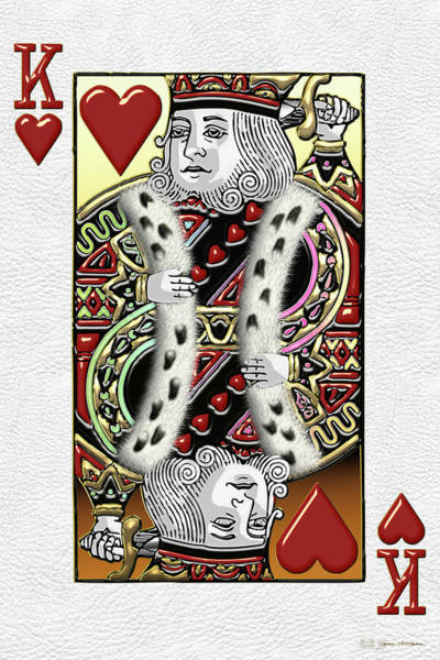 Digital Art - King Of Hearts Over White Leather  by Serge Averbukh