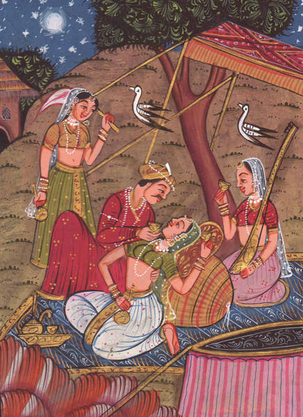 Wall Art - Painting - King Of India Mughal Art Of Love Kamsutra Paper Painting Artwork Miniature Painting India by A K Mundra