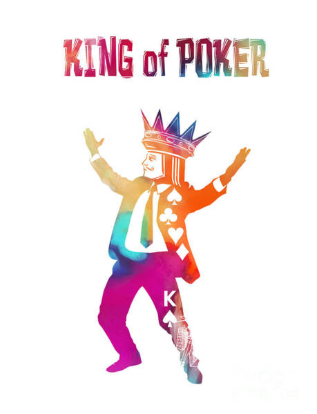 Deck Of Cards Digital Art - King Of Poker Colored by Justyna JBJart