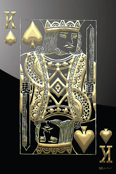 King Of Spades In Gold On Black   Art Print