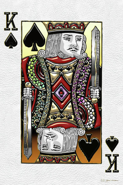 Digital Art - King Of Spades Over White Leather  by Serge Averbukh