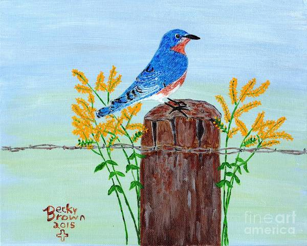 Fencepost Painting - King Of The Country by Becky  Brown