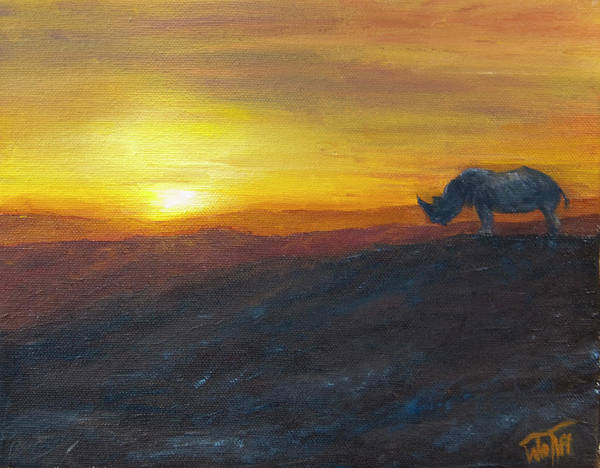 Rhinocerus Painting - King Of The Hill by Thea Wolff