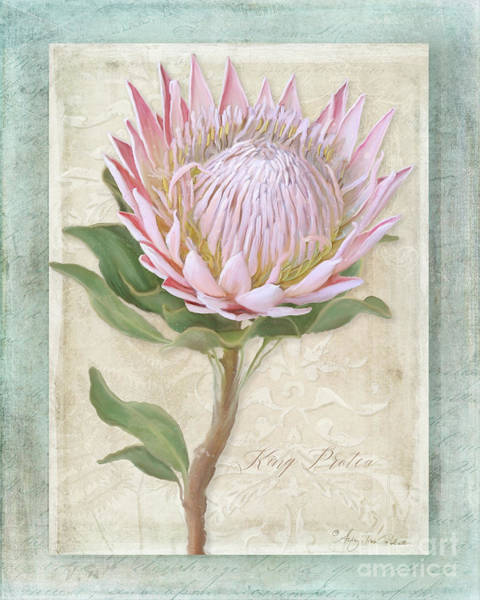 Wall Art - Painting - King Protea Blossom - Vintage Style Botanical Floral 1 by Audrey Jeanne Roberts