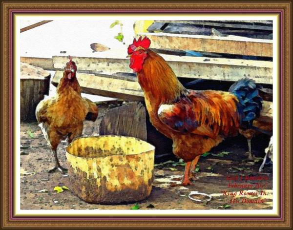 King Size Painting - King Rooster In His Domain L A With Decorative Ornate Printed Frame. by Gert J Rheeders