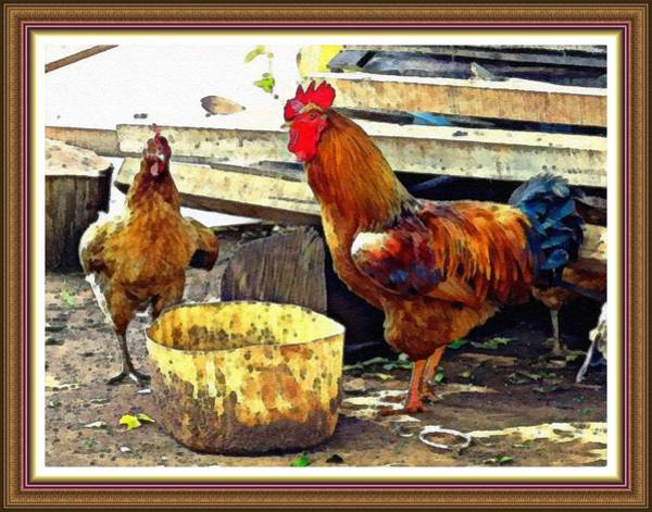 King Size Painting - King Rooster In His Domain L B With Decorative Ornate Printed Frame. by Gert J Rheeders