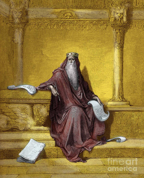 Historical Figure Painting - King Solomon Engraving By Gustave Dore by Gustave Dore