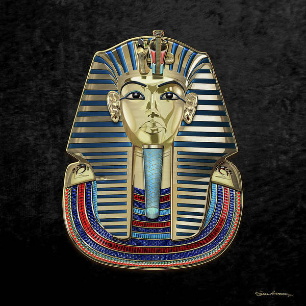 Amulet Digital Art - King Tut -tutankhamun's Gold Death Mask Over Black Velvet by Serge Averbukh