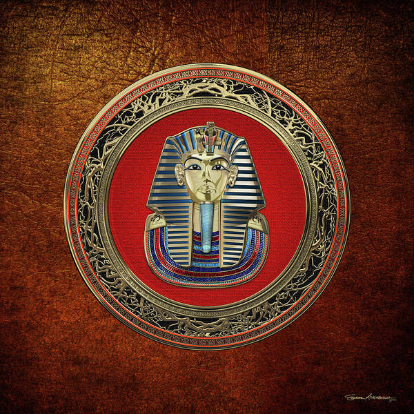Amulet Digital Art - King Tut -tutankhamun's Gold Death Mask Over Brown Leather by Serge Averbukh