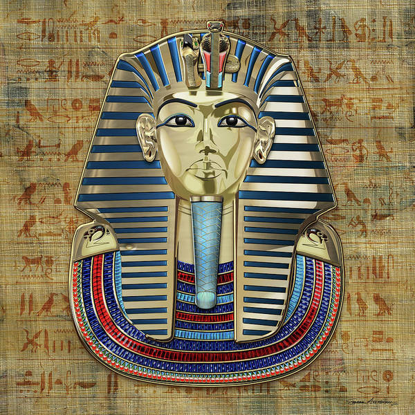 Amulet Digital Art - King Tut -tutankhamun's Gold Death Mask Over Egyptian Hieroglyphics Papyrus by Serge Averbukh