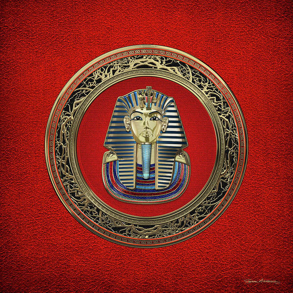 Digital Art - King Tut -tutankhamun's Gold Death Mask Over Red Leather by Serge Averbukh