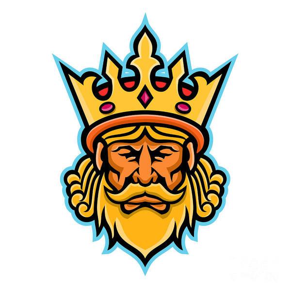 Kingship Wall Art - Digital Art - King With Crown Mascot by Aloysius Patrimonio