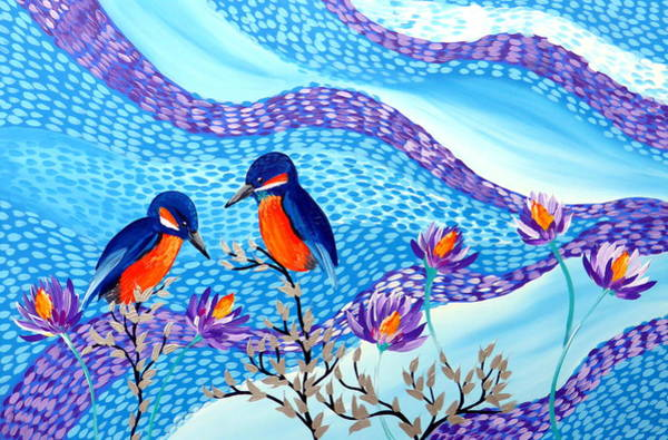 Framing Painting - Kingfishers With Lilies by Cathy Jacobs