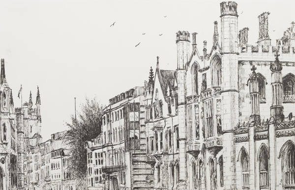 Wall Art - Drawing - Kings College Cambridge by Vincent Alexander Booth