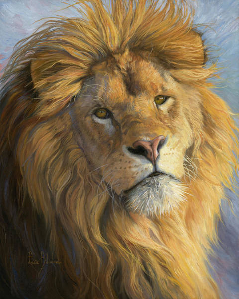 Lions Painting - King's Gaze by Lucie Bilodeau