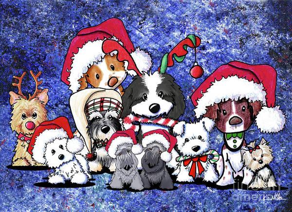 Wall Art - Drawing - Kiniart Christmas Party by Kim Niles