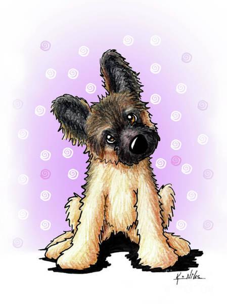 German Shepherd Drawing - Kiniart Shepherd Puppy by Kim Niles