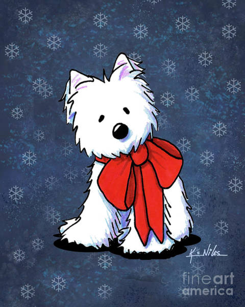 Wall Art - Drawing - Kiniart Westie In Red Bow by Kim Niles
