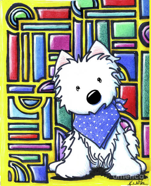 Wall Art - Drawing - Kiniart Westie Stained Glass by Kim Niles