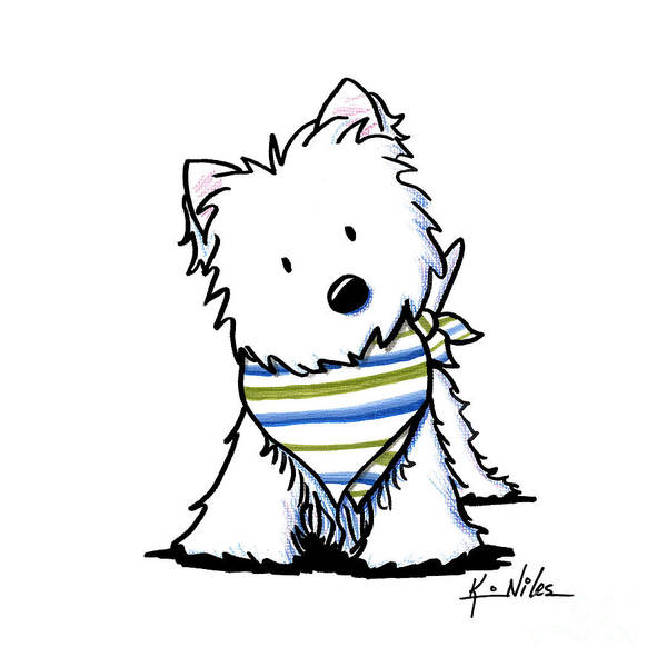 Scarf Drawing - Kiniart Westie Terrier by Kim Niles