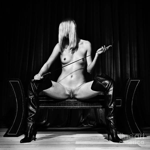 Photograph - Kinky Fetish Image With A Nude Woman In Black And White by William Langeveld