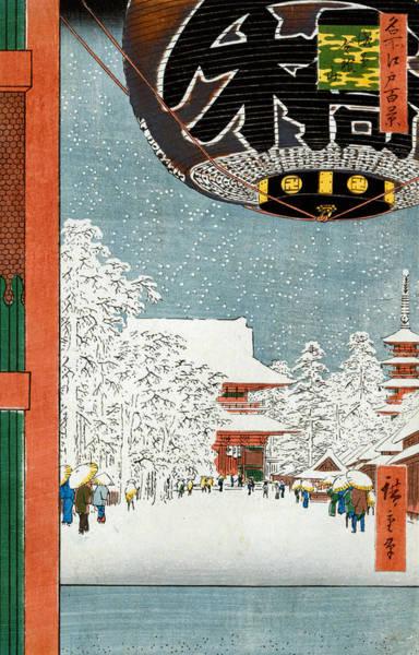 Wall Art - Painting - Kinryuzan Temple At Asakusa by Hiroshige