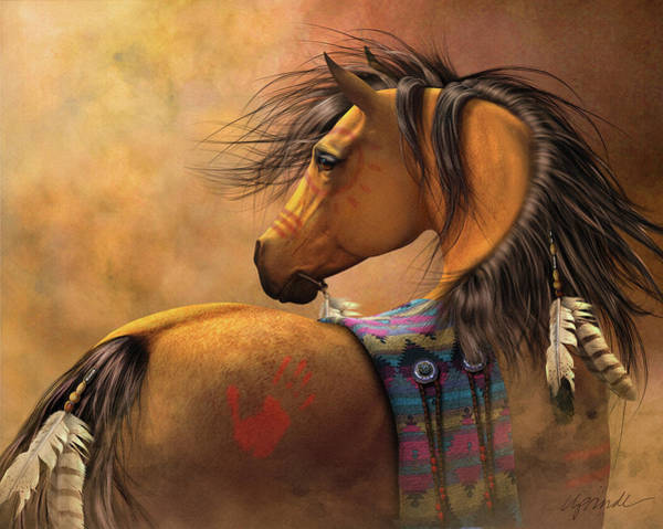 Horse Feathers Digital Art - Kiowa Gold by Laurie Prindle