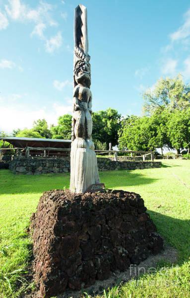 Photograph - Kipahulu Tiki Demigod Statue Woodcarving At Maui Stables Maui Hawaii by Sharon Mau