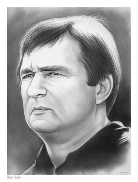 Football Drawing - Kirby Smart by Greg Joens
