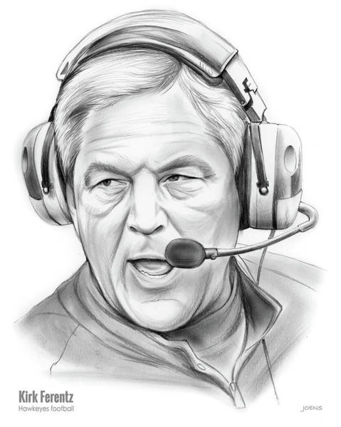 Wall Art - Drawing - Kirk Ferentz by Greg Joens
