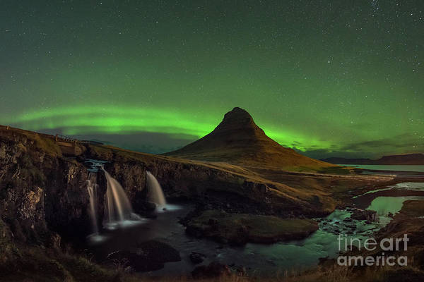 Photograph - Kirkjufellsfoss Night Lights by Michael Ver Sprill